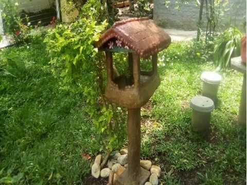 ARTE COM CIMENTO Casinha de Pássaros art with cement how to make birdhouse