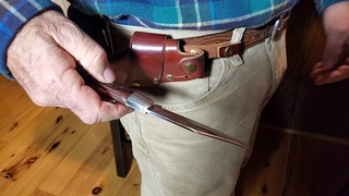 Easy Quick Draw Release Leather Knife Sheath For Case XX Folding Hunters or Buck 110 type knives