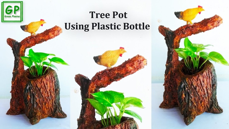 Tree Stump Tree Pot Making with Plastic Bottle Tree Stump Flower Vase Showpiece Decor GREEN PLANTER