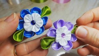DIY/ Kanzashi satin ribbon hair clip/ satin ribbon flower/ handmade decoration/ hair bow