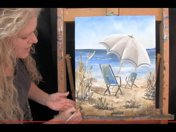 How to Paint Beach Chairs and Umbrella with Acrylic beginner level step by step instruction