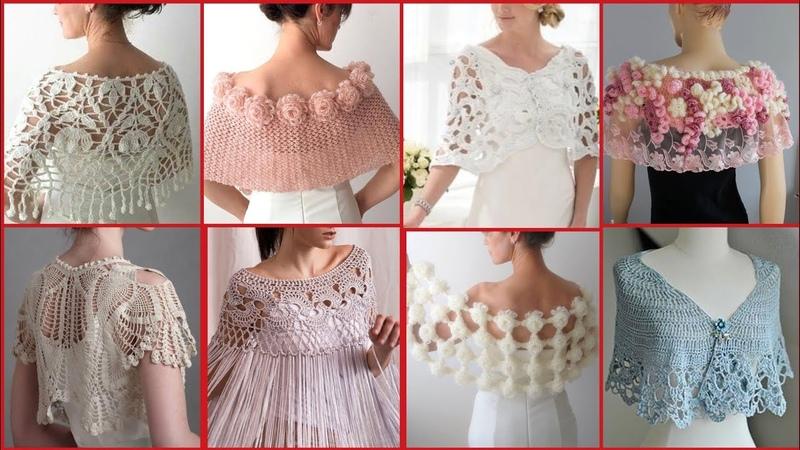 Impressively Stylish Crochet Caplet Shawl Scarf Designs Ideas Bridal Wear Caplet Shawl