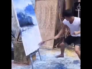 Талант - рисунок шваброй -
