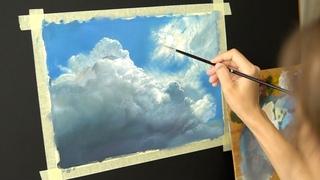 Масляная живопись для начинающих. Рисуем пейзаж  #4 Небо . Распаковка ! Art tutorial. Oil painting
