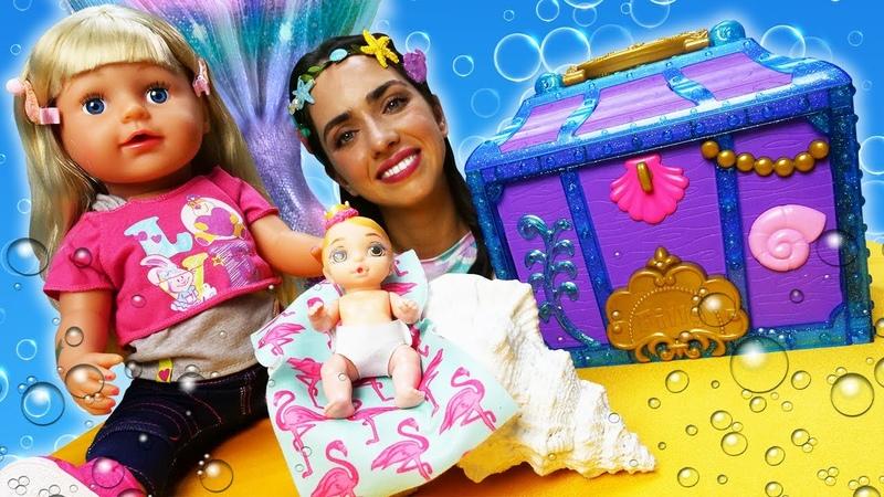Русалка спасает пупсика Беби Бон Видео для девочек Сундук Русалки и Кукла Baby Born КАК МАМА