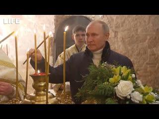 Путин на рождественской службе в церкви Николы на Липне