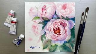 Watercolor Painting-Pink Peonies-Advanced Tutorial Step by Step.