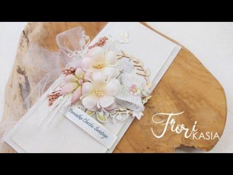 Album oraz kartka z okazji Chrztu Świętego z kwiatami Fiori tutorial scrapbooking