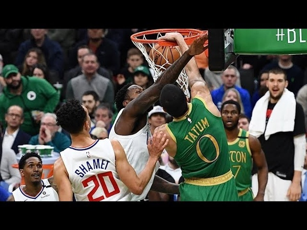 Jayson Tatum Dunks on 2 Clippers Defenders Shamet and Green