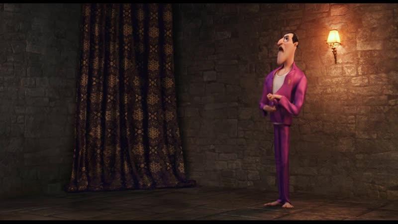 Тем временем в замке папа бесится на слова дочери и кривляется дразнит дочь Пап это н клык да Джонни Монстры на каникулах 2