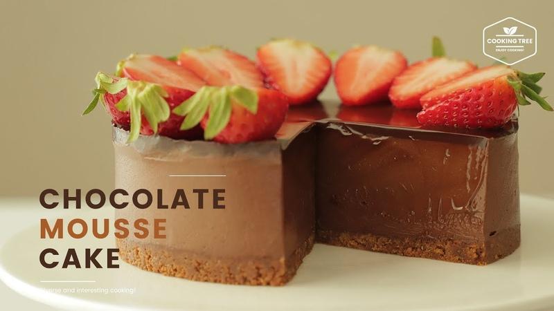 노오븐 젤라틴 초콜릿 무스케이크 만들기 No Gelatin No Bake Chocolate Mousse Cake チョコレートムースケーキ Cooking tree