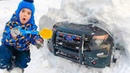 Andrew ride on children's police car and stuck in the snow Kids pretend play on tractor toy and help