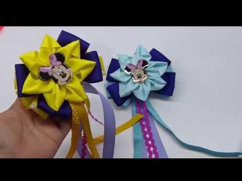 COMO HACER FLORES de Cinta Gros para decorar Moños de Niña Flowers and Bows DIY