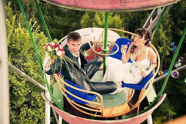 свадебная фотосессия в парке аттракционов