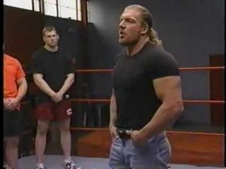 Triple H lectures Tough Enough cast.