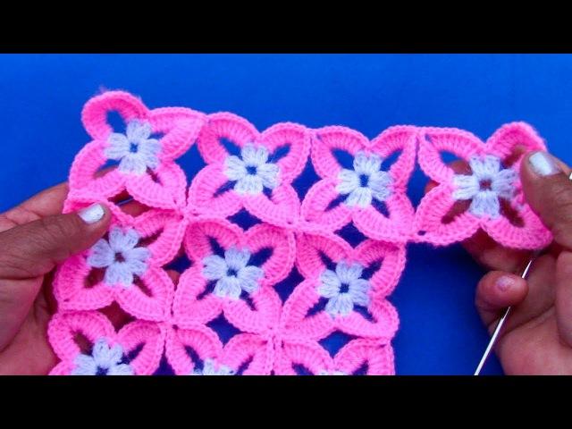 Motivo o pastilla a crochet fácil de tejer para blusas, colchas, cojines, chalecos en video tutorial