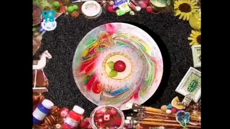 Декупаж В технике марморирование декорируем тарелку и браслет Мастер класс Наташа Фохтина