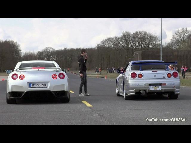 Nissan Skyline GT R34 Mines Stage 2 vs Nissan GT-R Switzer P800