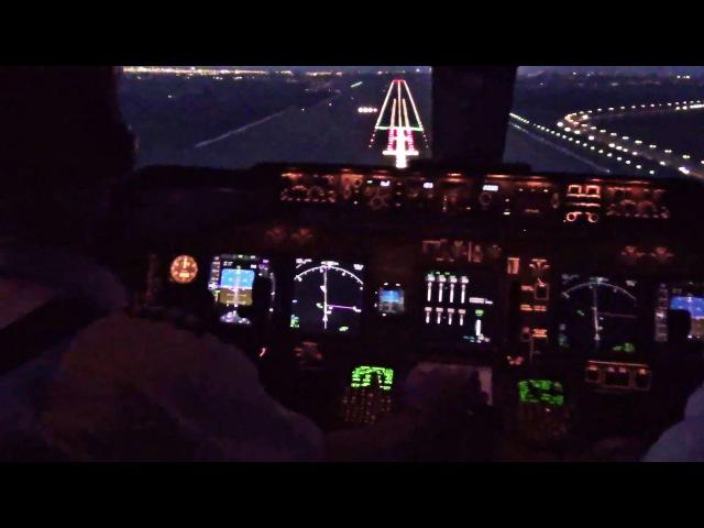 Beautiful Sunrise Landing Amsterdam - Boeing 747-400 Cockpit, w/ ATC