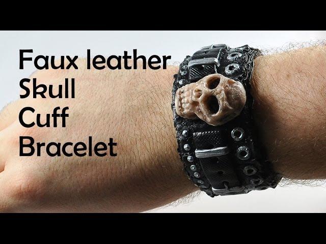 Faux leather skull cuff bracelet - polymer clay TUTORIAL