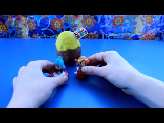 Play doh kinder surprise eggs unpacking. Many interesting toys.