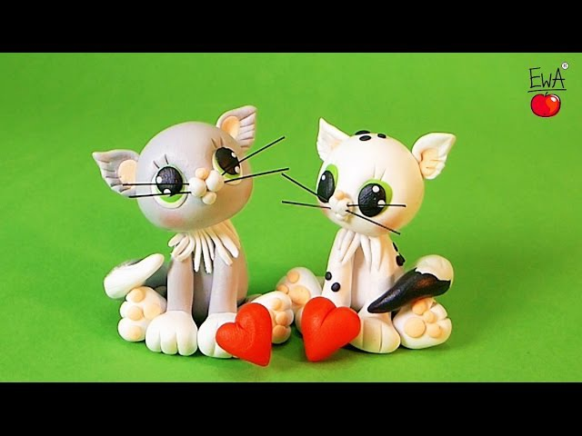 WHITE CAT ♡ KOT polymer clay tutorial Valentine's Special