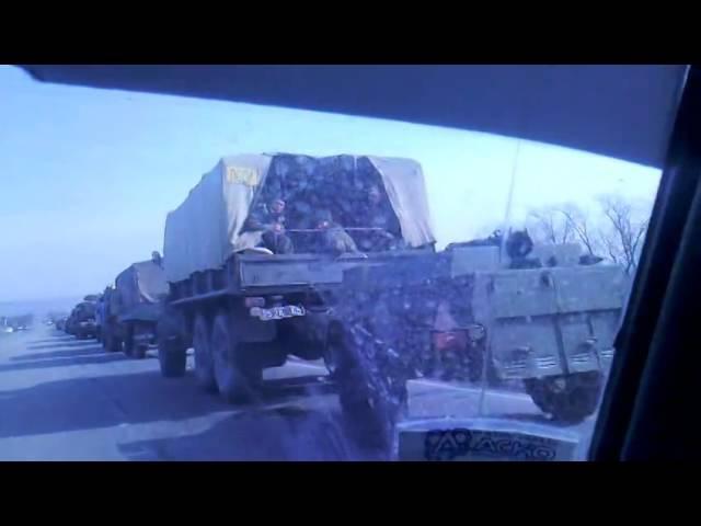 украинские БМП уже в Алчевске 15.03.2014г колонна сопровождения