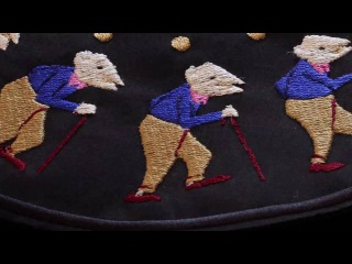 Embroidered Zoetropes on Turntables by Elliot Schultz