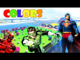 Superheroes flying on color planes cartoon! learn colors with superman, batman, flash and deadpool!