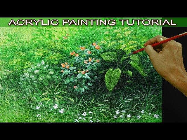 Acrylic Painting Tutorial on How to Paint Bushes Grasses and Different Plants by JM Lisondra