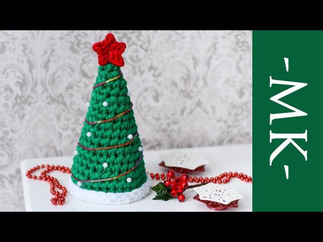 Ёлка крючком из трикотажной пряжи | Новогодний декор