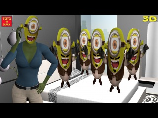 5 Little SHREK MINIONS Jumping On The Bed & MORE | Nursery Rhymes for Children | 3D Animation