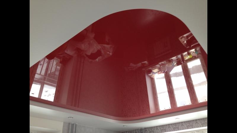 Смена цвета на двухуровневом потолке был розовый стал темно красный
