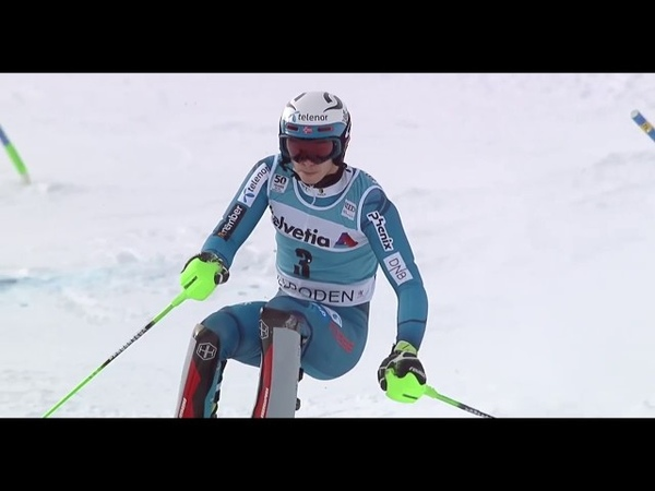 Kristoffersen Neureuther Moelgg Slow Motion of 1st run SL WC Adelboden