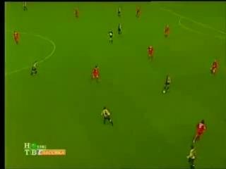 Ливерпуль - Барселона 1-3. Гол Марка Овермарса (2001)