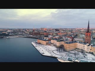 Stockholm aerial drone views over the capital city of sweden