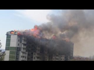 Пожар на Чехова 29а г. Южно-Сахалинск - 21 мая 2018 г.