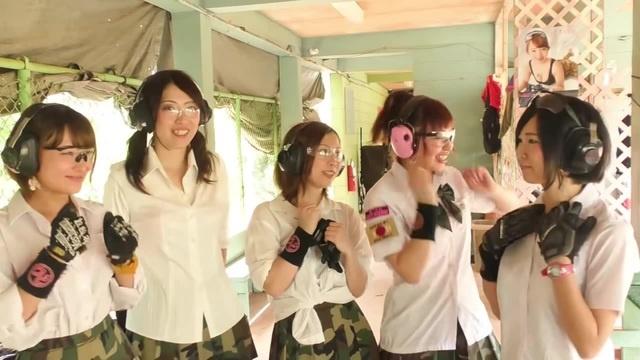 Japanese idols shooting long guns