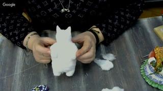 часть 2. Мастер-класс Елены Васько: Кот-бабочка ватная игрушка.