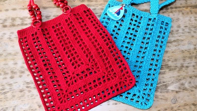 Kolay File Alışveriş Çantası Yapımı Crochet Rectangle Market Bag (Eng. Subt.)