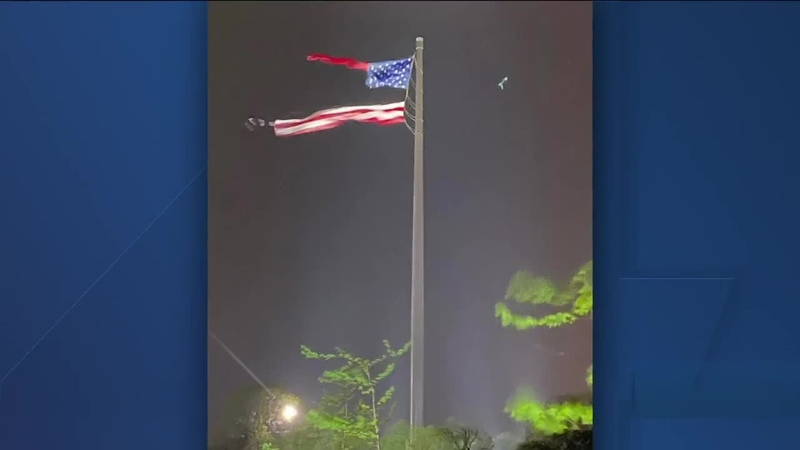 American flag torn in half during storms