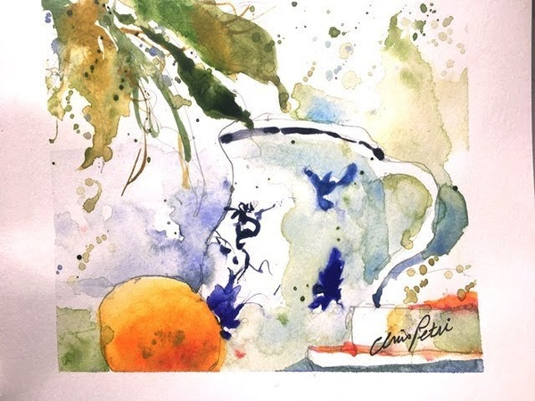 Watercolor Painting of Vase Fruit with Chris Petri