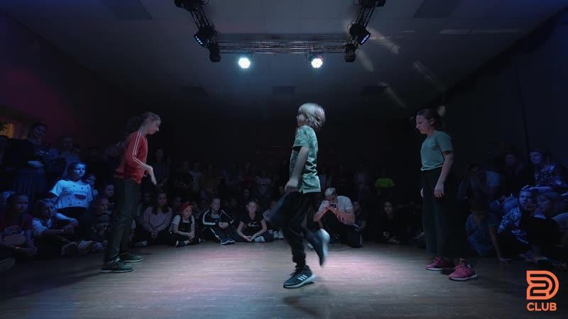 2D CLUB 10 Hip Hop Juniors 1 4 Сукоркин Мирон win Пименова Саша Носкова Маша Шаматов Кирилл
