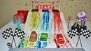 Цветные гонки для Молнии Маквина. Игрушки из мультика Тачки готовят гоночный трек для машинок
