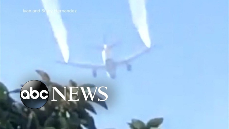Jet plane dumps fuel over elementary school yard l ABC News
