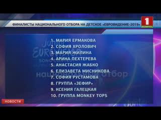 Определены финалисты национального отборочного тура детского конкурса песни Евровидение-2019