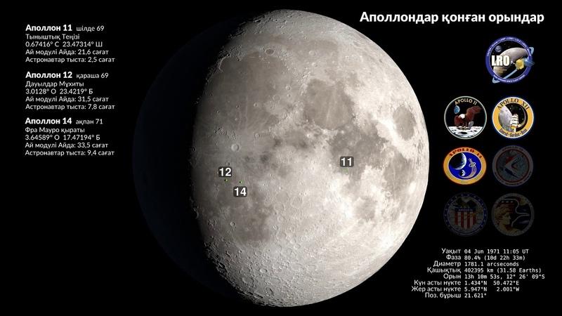 Аполлон-11-дің Айға қонғанына — 50 жыл! Аполлондардың қонған орындары /4K/