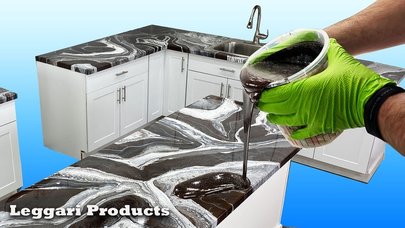 Epoxy Countertops Done On A Kitchen Tutorial DIY Countertop Remodel Ideas Dirty Pour Technique