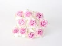 000019 Кудрявые розы 3 см БЕЛЫЙ+СВ. РОЗОВЫЙ в середине  1 шт - 12 руб  диаметр 3 см высота 2 см длина стебля 8 см