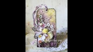 Floral Tag Video Tutorial // Цветочный тэг. Микс-медиа. // Мастер-класс